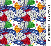 seamless pattern with carnival... | Shutterstock .eps vector #581699785