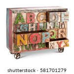 wooden bureau  commode with... | Shutterstock . vector #581701279