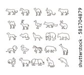 simple animal line icon set... | Shutterstock .eps vector #581704879