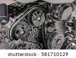 Car timing chain in cutaway engine