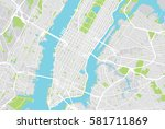 new york map. raster... | Shutterstock . vector #581711869