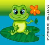 green frog character sitting on ... | Shutterstock .eps vector #581713729