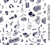 hand drawn seamless pattern... | Shutterstock .eps vector #581713831