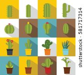 different cactuses icons set.... | Shutterstock .eps vector #581717314