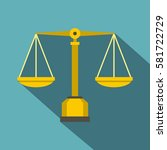 gold scales of justice icon.... | Shutterstock .eps vector #581722729