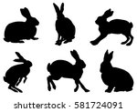 collection of rabbit... | Shutterstock .eps vector #581724091
