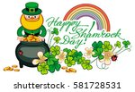 holiday label with shamrock ... | Shutterstock . vector #581728531