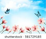 nature spring background with... | Shutterstock .eps vector #581729185