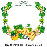funny frame with shamrock ... | Shutterstock . vector #581731705