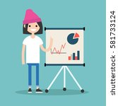 young brunette girl presenting... | Shutterstock .eps vector #581733124