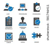 in compliance   icon set that... | Shutterstock .eps vector #581746411