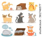 Stock vector cute cats character different pose vector set 581748577