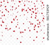 falling rose petals isolated on ... | Shutterstock .eps vector #581753929