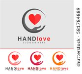hand and love logo  icon and... | Shutterstock .eps vector #581784889