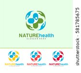 nature health logo vector with... | Shutterstock .eps vector #581785675