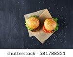 craft beef burgers with...   Shutterstock . vector #581788321