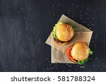 craft beef burgers with... | Shutterstock . vector #581788324