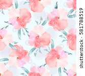 watercolor floral pattern.... | Shutterstock . vector #581788519