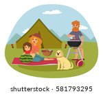 picnic setting with fresh food... | Shutterstock .eps vector #581793295