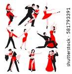 couples dancing latin american...   Shutterstock .eps vector #581793391