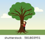 Smiling Girl Hugging A Tree