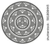 flower mandala  an ancient... | Shutterstock .eps vector #581808445