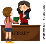 girl borrowing book from... | Shutterstock .eps vector #581819209