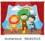 three kids performing on the... | Shutterstock .eps vector #581819215