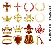 gold and red ornaments set.... | Shutterstock .eps vector #58181965