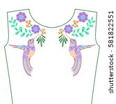 embroidery stitches with... | Shutterstock .eps vector #581822551