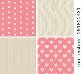 set of 4 pink and beige...   Shutterstock .eps vector #581825431