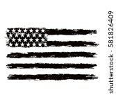 black and white american flag. | Shutterstock .eps vector #581826409