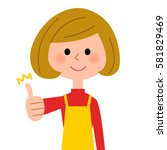 thumbs up  the female of the... | Shutterstock .eps vector #581829469