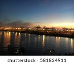 harbor at dusk | Shutterstock . vector #581834911