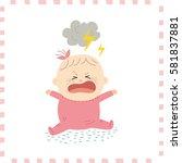 cute baby girl.vector... | Shutterstock .eps vector #581837881