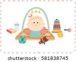 cute baby girl.vector... | Shutterstock .eps vector #581838745