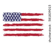 usa flag in grunge style on a... | Shutterstock .eps vector #581839015