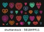knitted heart  crafts... | Shutterstock .eps vector #581849911