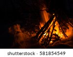 Big Bonfire. Winter Fire In...