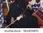 Small photo of Saudi woman weaving wool, traditional handcrafts from Saudi Arabia