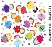 cute baby background with dolls | Shutterstock .eps vector #58185751