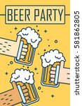 beer party. thin line flat... | Shutterstock .eps vector #581862805