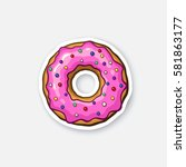 vector illustration. donut with ... | Shutterstock .eps vector #581863177