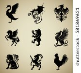 mixed heraldry collection | Shutterstock .eps vector #581869621