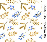 watercolor gold floral...   Shutterstock . vector #581870191