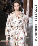 Small photo of NEW YORK, NY - FEBRUARY 14, 2017: Ania Chiz walks the runway at the Tory Burch Fall Winter 2017 fashion show during New York Fashion Week at the Whitney Museum of American Art