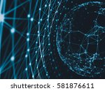 abstract technology network... | Shutterstock . vector #581876611