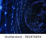 abstract technology network...   Shutterstock . vector #581876854