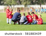 kids soccer waiting in a out... | Shutterstock . vector #581883439