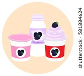 yogurt healthy cream milk... | Shutterstock .eps vector #581884624